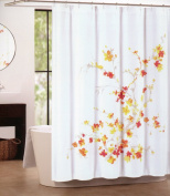 Tahari Home Printemps Shower Curtain in Floral Orange, Red, Yellow and Tan on White, 180cm x 180cm