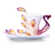 Moyishi Hand Crafted Porcelain Enamel Delicate Peacock Tea Coffee Cup Set with Saucer and Spoon Purpel