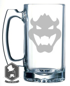 Mario Brothers Bowser Video Game Inspired 740ml Hand-made Etched Beer Mug Glass Stein