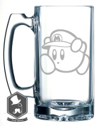 Kirby With Mario Hat Video Game Inspired 740ml Hand-made Etched Beer Mug Glass Stein