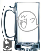 Mario Brothers Ghost Boo Video Game Inspired 740ml Hand-made Etched Beer Mug Glass Stein