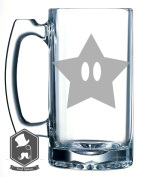 Mario Brothers Star Man Logo Video Game Inspired 740ml Hand-made Etched Beer Mug Glass Stein