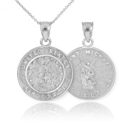 Reversible 14k White Gold St Michael Medal Protection Charm US Air Force Pendant Necklace
