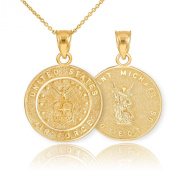 Fine 14k Yellow Gold St Michael Medal Protection Charm US Air Force Reversible Pendant Necklace