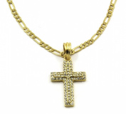 "Cross Charm Gold Plated Piece Pendant Italian Figaro 24"" 3mm Chain Necklace Jewellery 002"