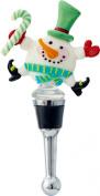 Happy Dancing Snowman Winter Wine Bottle Stopper Art Glass LS Arts