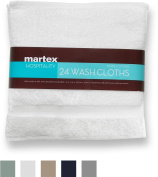 COMMERCIAL 24 PIECE WASH CLOTH TOWEL SET BY MARTEX - 24 Wash Cloths, Home, Shower, Tub, Gym, Pool - Machine Washable, Absorbent, Professional Grade, Hotel Quality - White