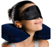 Neck Pillow for Travel. Inflatable for Aeroplanes, Cars, Home. Compact size before inflation. U-Shaped Travel Pillow Comes with Eye Cover Sleep Mask! Your Satisfaction Guaranteed 100%!