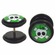 Pair (2) Irish Skull w/Party Hat Fake Plug Earrings Cheater Gauges