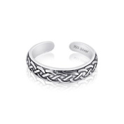 Sterling Silver 925 Tribal Design Toe Ring. Nickel Free Adjustable Fit Solid Band One Size Fits All. Polished