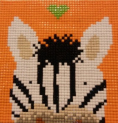Zig Zag Zebra - Cartoon Animal Beading By Number Kits for Kids, Counted Cross Stitch Design Without a Stitch, Blue Moon Needlecrafts, Diamond Painting By Number Easy Craft DIY Kit for Beginners