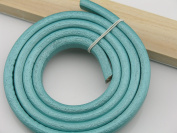 1 Metre Soft 10.0x6.0mm Metallic Aqua Licorice Real Leather Cord