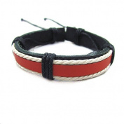 Fashion Adjustable Leather Cotton Rope Woven Bracelets Mens Bracelet Cool Bracelet Jewellery Cuff Bracelet Sl0309 (Red