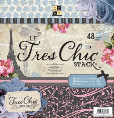 Die Cuts with A View 30cm by 30cm Premium Paper Stack with Glitter, Le Tres Chic
