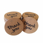 "Uhome 50x Brown ""thank you"" DIY Kraft Brown Bonbonniere Gift Paper Tags /Thank You Tags/ Gift Tags / Wedding Bonbonniere Favour Gift Tags"