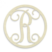 UNFINISHEDWOODCO Single Letter Circle Monogram-R, 48cm , Unfinished