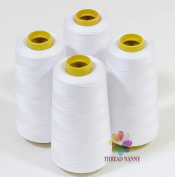 4 Large Cones (3000 Yards Each) of Polyester Threads for Sewing Quilting Serger White Colour From Threadnanny
