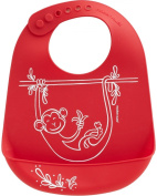 Modern-twist Baby Silicone Bucket Bib, Monkey Business, Red