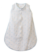 SwaddleDesigns zzZipMe Sack with 2-Way Zipper, Muslin Wearable Blanket, Dots, Blue 3-6 Months