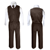 Unotux 4 Piece Formal Boys Brown Vest Necktie Sets Suits From 0 Month to 7 Years