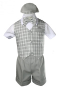 Unotux Baby Boy Formal Grey Gingham Cheques Vest Bow Suits Shorts Sets Hat 2T3T4T