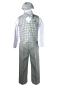 Unotux Baby Boy Formal Wedding Grey Gingham Cheques Vest Bow Suits Sets Hat 2T-4T