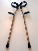 Walking Lightweight Adjustable Forearm Crutches Size M (Pair) - Brass