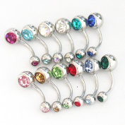 Lot of 12 Double Jewelled Crystal Belly Button Navel Rings Piercing