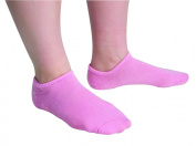 Secure® Moisturising & Exfoliating Spa Gel Socks For Women - 100% Cotton w/Non-Skid Bottom - Pink