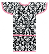 AM PM Kids! Sleeved Toddler Laminated Bib, Damask with Hot Pink