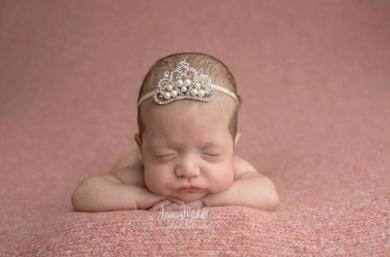 Large Crystal Pearl Tiara Slider Baby Headband, Girl, Toddler, Wedding, Photography