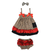 Masione Baby Toddlers Cotton Cute Hairband+ Dress+ Underpants Outfit