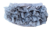 Premium Lace Ruffle Bloomer Nappy Cover. Size Small. 0 to 12m - Silver