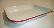 Enamelware Large Roasting Pan - Solid White with Red Rim