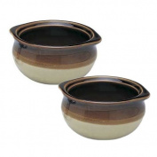 SET OF 2 - 300ml (Ounce) French Onion Soup Bowl, Crock Bowl, Single-Serving, Ceramic, Two-Tone Colour, Flat Rim, Two-eared Rim Handle