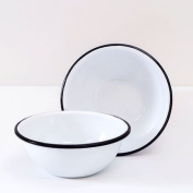 Enamelware Cereal Bowl - Solid White with Black Rim