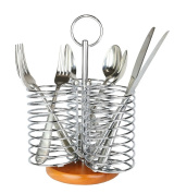 3 Compartment Chrome Finish Utensil Holder / Flatware Organiser Caddy with Bamboo Base