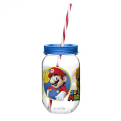 Zak Designs Super Mario Brothers Canning Jar Tumbler with Straw, 560ml