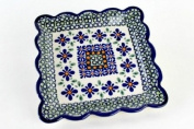 Polish Pottery Mosaic Flower Square Dessert Plate
