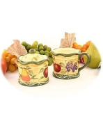 Tuscan Collection Deluxe Hand-Painted Sugar Bowl & Creamer Set