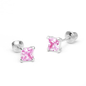 14k White Gold 3, 4, 5mm Basket Setting Princess Cut Solitaire Children Screw-Back Earrings Baby, Toddler & Kids