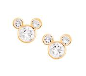 Disney Mickey Mouse 14Kt Gold Cz Stud Earrings Jewellery