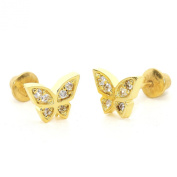 14k Gold Plated Baby Butterfly Children Screwback Earring With 925 Silver Post Baby, Toddler, Kids & Children