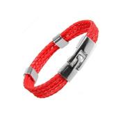 Designer Vintage Men's Leather Red Cuff Bracelet By Urban Jewellery