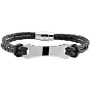 """3mm Two Strand Red-Brown or Black Leather and Stainless Steel ID Bracelet, 8.5"""""""