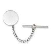Rhodium-plated Round Satin Tie Tack - JewelryWeb