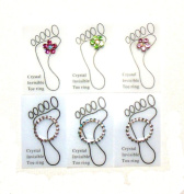 6 Stretch Toe Rings 3-Crystal Flower with Invisible Band and 3-Crystal Band Toe Ring Lot of 6