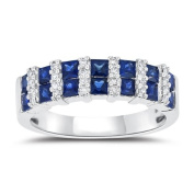 0.15 Cts Diamond & 1.70 Cts Blue Sapphire Ring in 14K White Gold