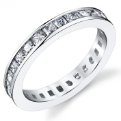 3MM Sterling Silver Princess Cut Cubic Zirconia CZ Wedding Engagement Eternity Band Ring Sizes 4 to 11