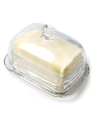 18cm Clear Glass Large Rectangular Covered Butter Dish